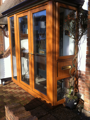 Light Oak French Doors Front Porch
