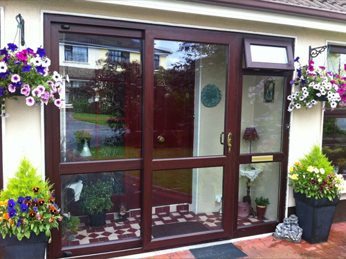 Rosewood uPVC Sliding Door and Side Panel