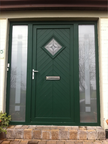 Green uPVC Door with Sandblasted Glass on Sides