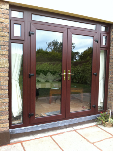 Rosewood uPVC double doors fanlight and opening side panels?