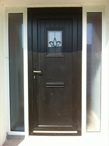 Tudor style uPVC front door with White side screens?